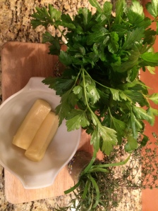 Fresh picked herbs & butter (not pictured crack black pepper)