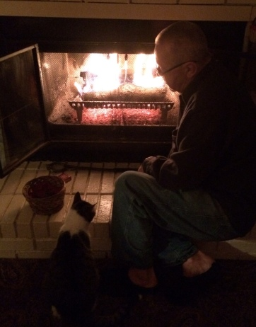 Tipper & Spence enjoying the fire.  Nearly every night we have a fire.  Tipper loves to sit with Spence, gazing into the dancing flames.