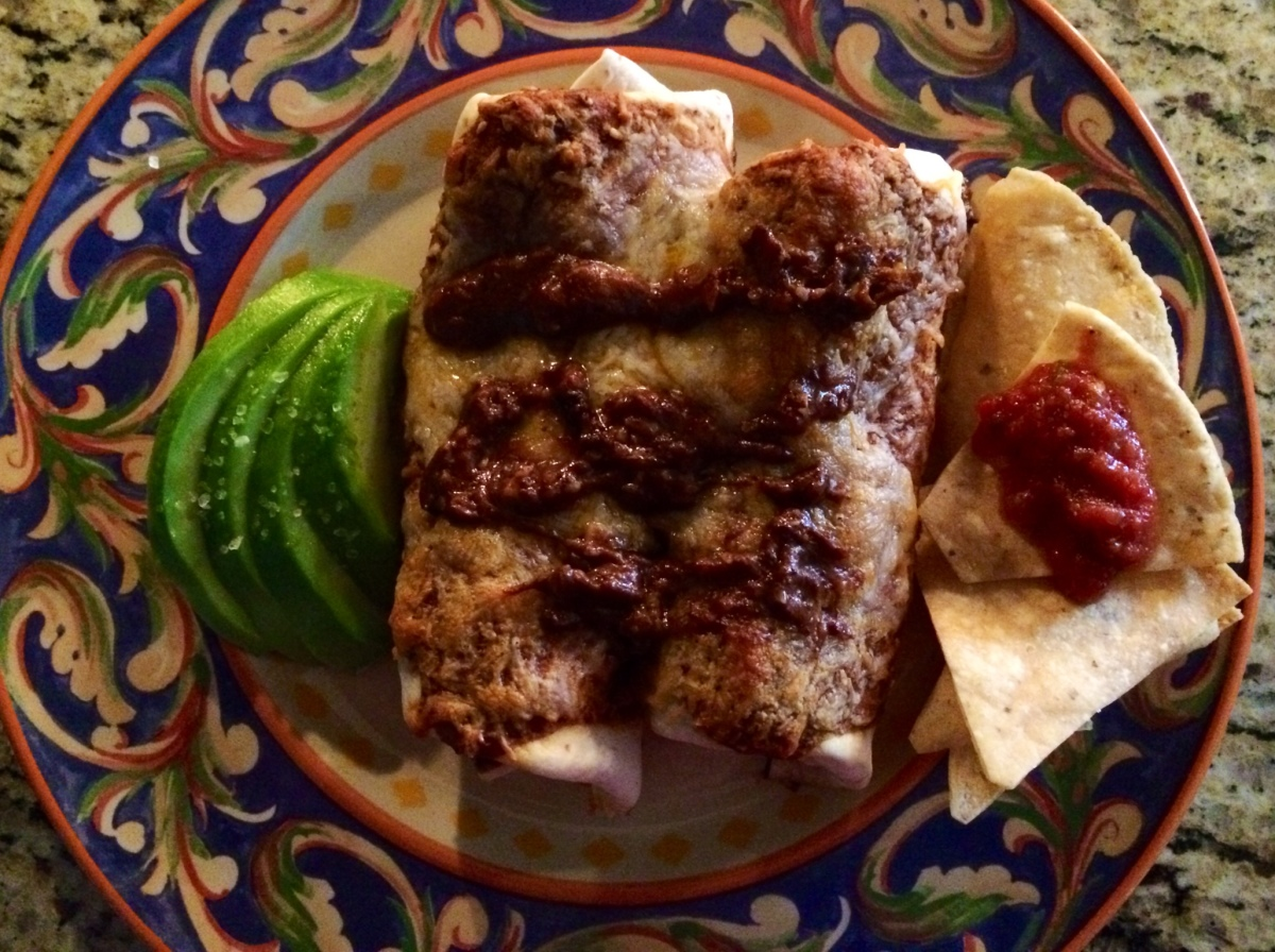 Mole Sauce/Wet Beef Burritos with Mole