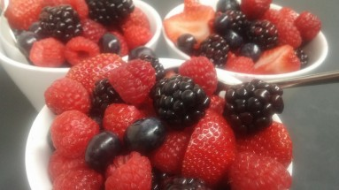 Lovely fruit served with the scones, crumpets, jams & spreads including Devonshire Cream